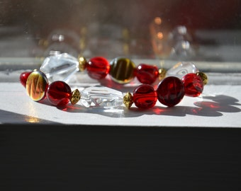 Bold Red and Gold Bracelet