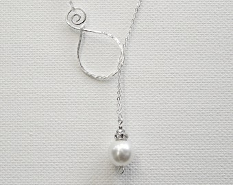 Lariat Pearl Pendant Sterling Silver Necklace Mothers Day Necklace Silver Lariat Necklace Wedding Necklace Bridal Necklace Mom Necklace