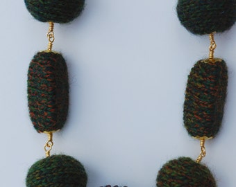 Dark Green Gold Color Chain Necklace. Hand Knitted With Purple Japanese Premier Glass Beads. AMAZON necklace.