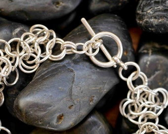 Chainmaille Lacy Rosette Bracelet in Sterling Silver