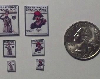 Dollhouse Miniature Vintage Magazine Set 1:12, 24 & 48 one inch scale