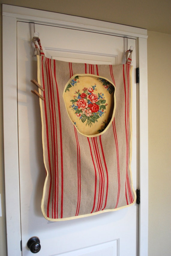 Laundry Bag Hamper Hanging Linen Red Stripe And Shabby