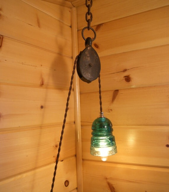 Items Similar To Rustic Light Pendant Lighting Pulley On Etsy: Industrial Pulley & Vintage Insulator Swag Light