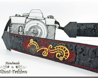 DSLR Camera strap, padded, black STEAMPUNK
