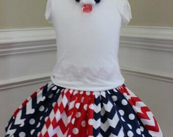 Red white blue skirt | Etsy