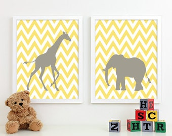 Kids Art for Children, Baby Nursery Decor, Zoo Jungle Nursery Art Print, Safari Animal Nursery Wall Art Chevron Kids Decor