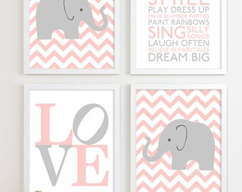 Baby Girl Nursery Art Prints Chevron Elephant Playroom Art Kids Girls Wall Art Room Decor Nursery Quotes Inspirational Playroom Rules
