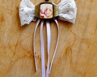 Rose, bowtie necklace