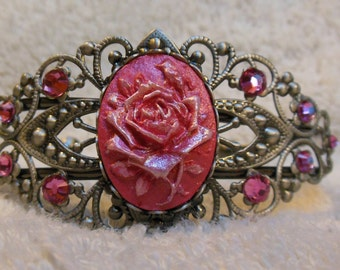 Pink Rose Cameo Bracelet. Hand Painted two tone. Rose Pink Swarovski Crystal