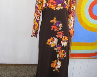 60s Neon Flower Power Maxi Dress / L / XL