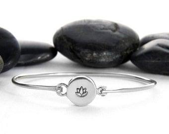 Lotus Jewelry, Lotus Bracelet, Lotus Flower, Lotus, Lotus Flower Jewelry, Sterling Silver, Yoga Bracelet, Silver Lotus, Lotus Charm, b248s
