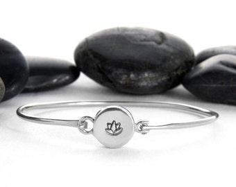 Lotus Flower Sterling Silver Bracelet, Lotus Charm, Lotus Flower Bracelet, Lotus Bracelet, Silver Lotus, Silver Lotus Flower, JIB248SS