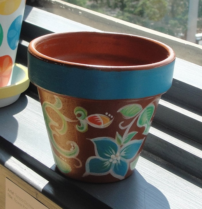 hand painted flower pot by luckylittleshop on etsy