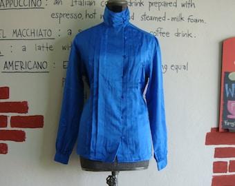 Vintage 80s classic formal cowl neck shirt shiny vibrant cobalt blue L XL satin