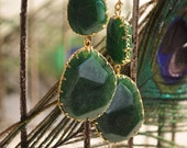 Fall ~ Fabulous - Green Double Jewel Drops.  Peacock Collection