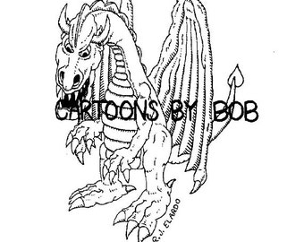Drako Dragon --  Cartoon Art Print  ---  Limited Edition Print --- Signed and Numbered Print
