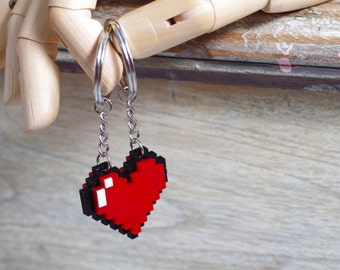 Pixel Heart Zelda Acrylic Plastic Keychain for couple and gamer 8 bits design for couple and gamer