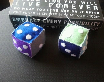 Handmade Felt Car Dice - Purple, Blue, Grey, Green and White