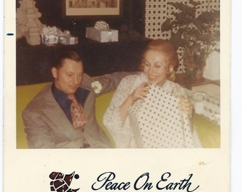 Vintage Photograph - Man Woman Holiday Vintage Photo - Vintage Christmas Postcard Photo