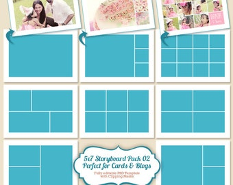 Instant Download  5x7 Photo Card Template, Storyboard Template, Digital Collage and Blog Board for Photographers - PT024