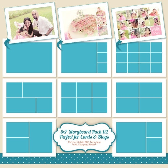 instant download 5x7 photo card template by popuridesign on etsy. Black Bedroom Furniture Sets. Home Design Ideas