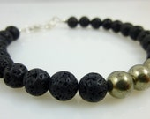 Lava Rock & Pyrite Bracelet, MENS Jewelry, Stone of STRENGTH and COURAGE, Chakra Jewelry, Energy Jewelry