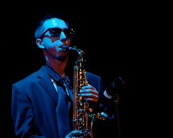 Saxophone Player Photograph, Live Music Photography, Print Wall Art, Blue and Black, Jazz, Cool Musician, Home Decor, Blues and Jazz