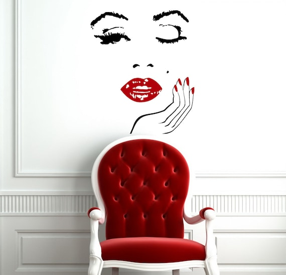 Wall decals girl face with hand decal manicure nail lips vinyl for Spa wall decor