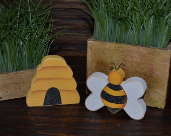 Bumble Bee Accent Pieces Personalized Wood Blocks Love Home Decor Primitive Gift Sign