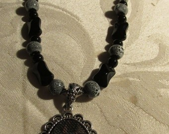 Grey and Black Glass Beads and Earring Set (N189)