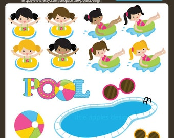Pool Clip Art / Pool Clipart / Pool Party Clip Art / Pool Party Clipart / Pool Party Digital Images / Commercial & Personal