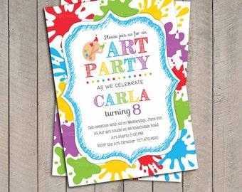 art painting birthday party invitation for kids printable - Printable Art For Kids