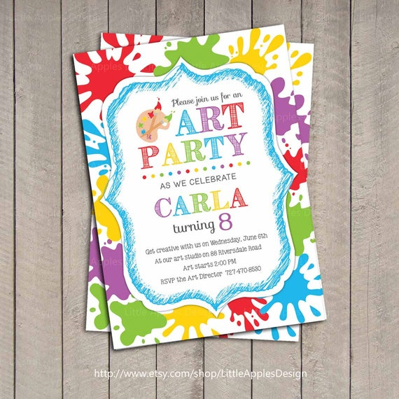 art party invitation  kids art party invitation  printable, party invitations