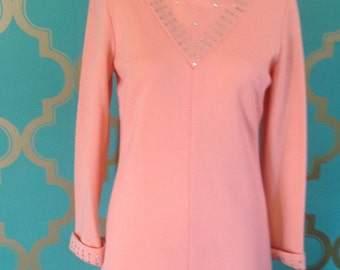 Sherbet Orange Wool Jeweled Dress