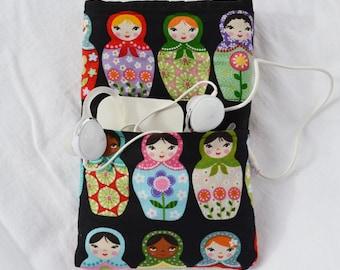 Matryoshka dolls handmade Smartphone sleeve pouch case for any phone custom made I Phone Nexus Samsung Galaxy HTC Droid Motorola Nokia