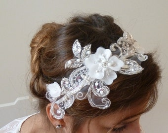 Bridal Hair Accessories,Floral Bridal Lace Headband, Beaded Swarovski crystal lace head piece Bridal fascinator hairpiece vintage style