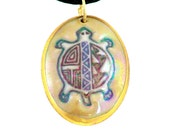 Spirit Turtle Native American porcelain pendant in green brown and purple; holographic mother of pearl glaze trimmed in 22K Gold or platinum