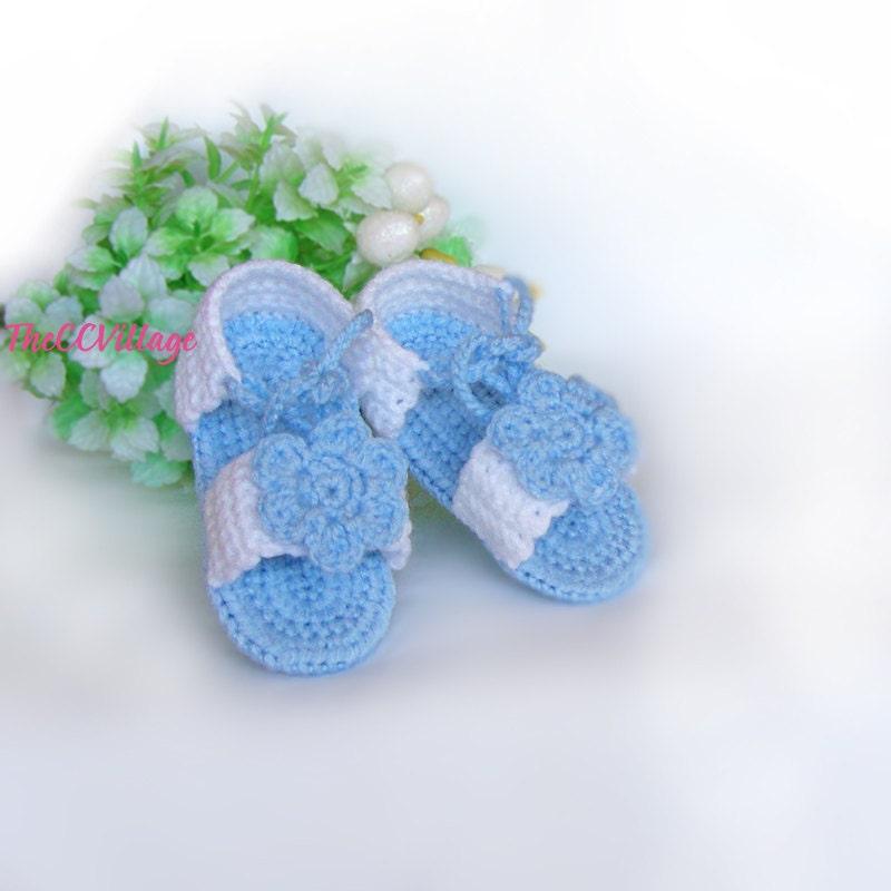 blue baby m dchen sandalen h keln handarbeit geh kelte. Black Bedroom Furniture Sets. Home Design Ideas