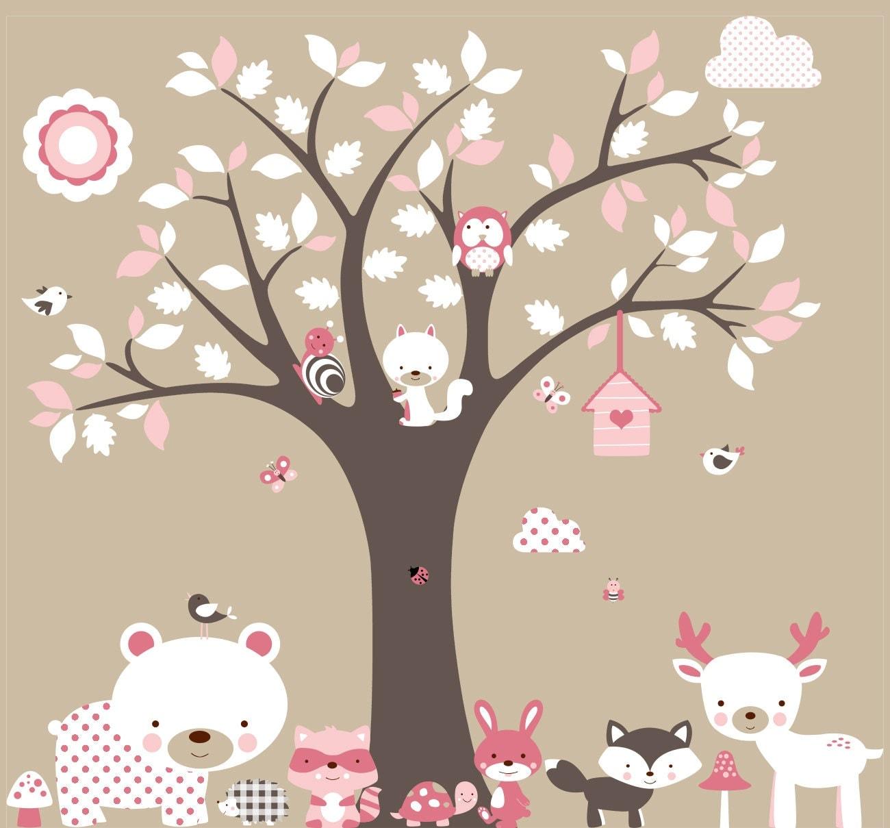Vinyl wall decal mural bear tree deer fox nursery wall for Jugendzimmer wand