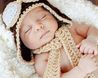 Custom Made Brown and Tan AVIATOR Pilot earflap hat with scarf, 2 piece set , SiZES Preemie Newborn,0-3 month, 3-6 month, 6-12 month, 1-3 yr