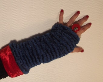 Reversible blue and Red mittens