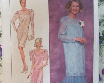 Vintage 1989 Simplicity 9101 LACE Gown Pattern sz 16-22 UNCUT