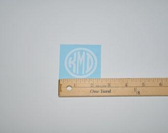 Circle Monogram Vinyl Decal Sticker