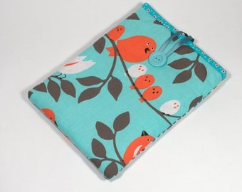 Cover for iPad, Handmade Case for iPad, Birdies Sleeve for iPad, aqua and red iPad cover