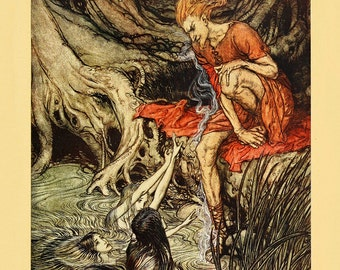 """Arthur Rackham : """"Loge and the Rhinemaidens"""" (The Rhinegold and the Valkyrie, 1910) - Giclee Fine Art Print"""