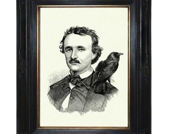 Halloween Edgar Allan Poe Art Print Raven Crow Gothic Victorian Steampunk Art Print Portrait