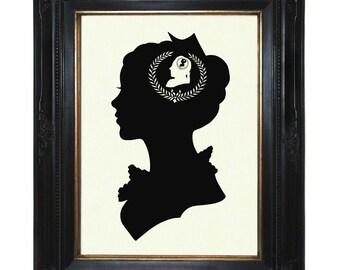 Silhouette Girl Art Print Woman Lady Love Valentine's Day Victorian Steampunk Art Print Shadow Cut