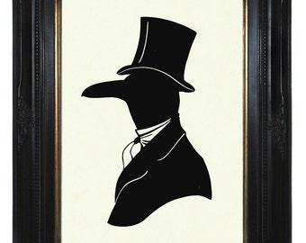 Silhouette Raven Art Print Crow Gentleman Victorian Steampunk Art Print Portrait Paper Cut Halloween