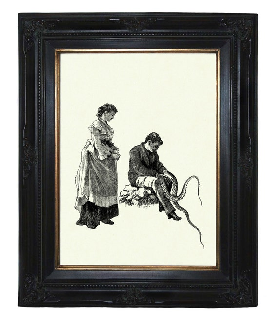Victorian Couple with Tentacle arms IV Octopus Kraken Lady Gentleman Steampunk art print