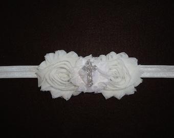 Baptism Headband- Christmas headband- Newborn Christening Headband, Infant,Preemie,Toddler,White Headband, Ivory Headband- Cross Headband